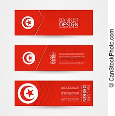Set of three horizontal banners with flag of Tunisia. Web banner design template in color of Tunisia flag.