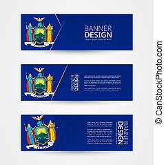 Set of three horizontal banners with US state flag of New York. Web banner design template in color of New York flag.