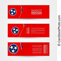 Set of three horizontal banners with US state flag of Tennessee. Web banner design template in color of Tennessee flag.