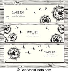 Set of three horizontal card with dandelions and dandelion seeds on white background.
