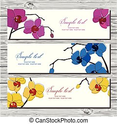 Set of three horizontal cards with orchid on white background.