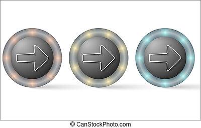 set of three icons with arrow