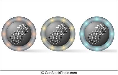 set of three icons with cogwheels