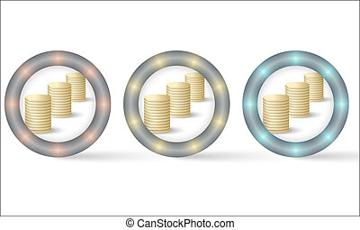 set of three icons with coin symbol