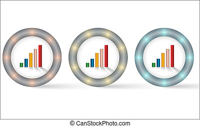 set of three icons with graph