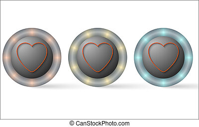 set of three icons with heart