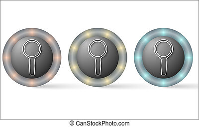 set of three icons with magnifier