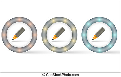 set of three icons with pencil