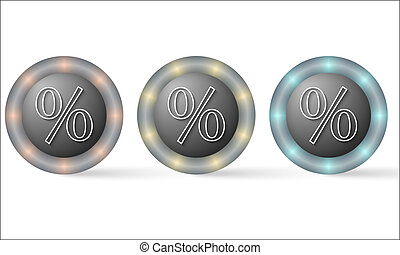 set of three icons with percent symbol