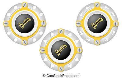 Set of three icons with perforated ring and check box