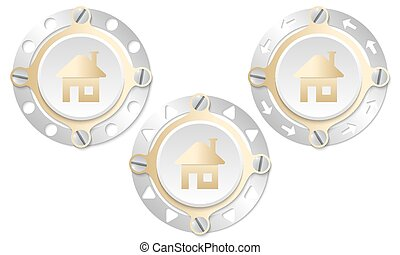 Set of three icons with perforated ring and home icon