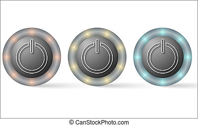 set of three icons with power button