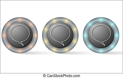 set of three icons with speech bubble