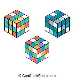 Set of three isomeric Rubik cubes on a white background.