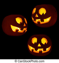 Set of three Jack-o'-lanterns pumpkins
