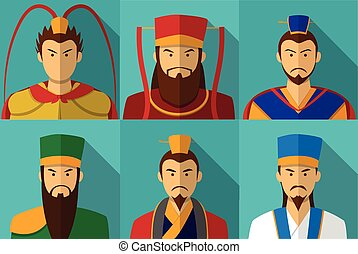 Set of Three kingdom character portrait in flat, vector
