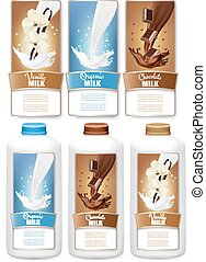 Set of three labels of chocolate and vanilla milk splashes and bottles with tags. Vector.