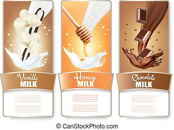 Set of three labels of chocolate, honey and vanilla milk...