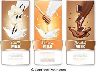 Set of three labels of chocolate, honey and vanilla milk...