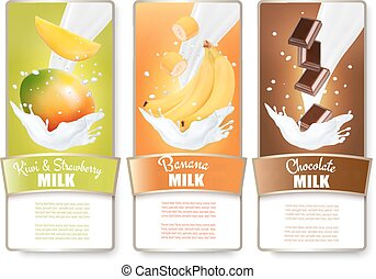 Set of three labels of fruit in milk splashes. Mango, bananas, chocolate. Vector.