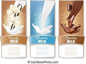 Set of three labels of milk, chocolate and vanilla milk splashes. Vector.