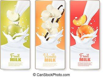 Set of three labels of of fruit in milk splashes. Apple, vanilla,  peach. Vector.