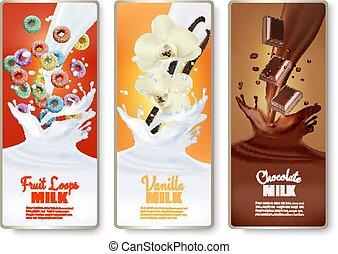 Set of three labels of of fruit in milk splashes. Fruit loops, vanilla, chocolate. Vector.