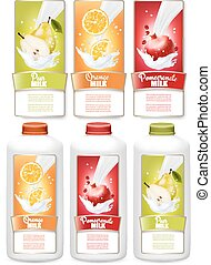 Set of three labels of of fruit in milk splashes. Pear, orange, pomegranate and bottles with tags. Vector.