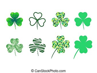 Set of three leaf clover. Four leaf clover. mosaic. Isolated elements. Symbol of St. Patrick's Day. Vector