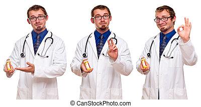 Set of Three Male Doctors with Prescription Bottle - Triple ...