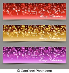 Set of three Merry Christmas banners with snowflakes