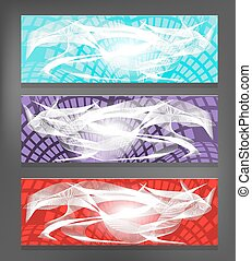 Set of three, modern banners  - blue, violet, red with lights
