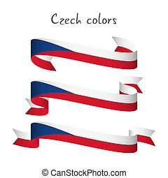 Set of three modern colored vector ribbon with the Czech tricolors isolated on white background, abstract Czech flag, Made in Czech Republic logo, Czechia