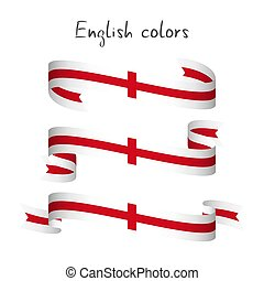 Set of three modern colored vector ribbon with the English colors isolated on white background, abstract English flag, Made in England icon