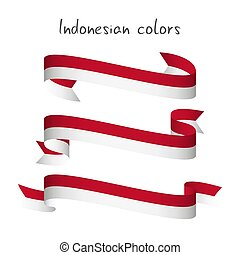 Set of three modern colored vector ribbon with the Indonesian colors isolated on white background, abstract Indonesian flag, Made in Indonesia logo