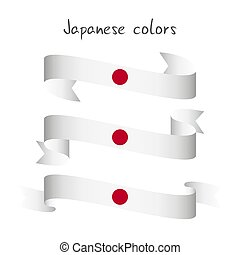 Set of three modern colored vector ribbon with the Japanese colors isolated on white background, abstract Japanese flag, Made in Japan logo