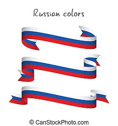 Set of three modern colored vector ribbon with the Russian tricolor isolated on white background, abstract Russian flag, Made in Russia logo