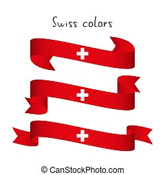 Set of three modern colored vector ribbon with the Swiss colors isolated on white background, abstract Swiss flag, Made in Switzerland logo