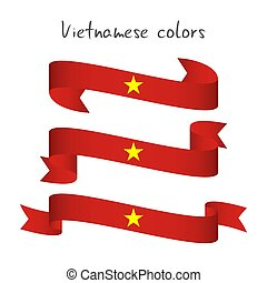 Set of three modern colored vector ribbon with the Vietnamese colors isolated on white background, abstract Vietnamese flag, Made in Vietnam logo