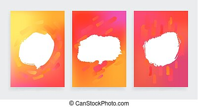 Set of three One style banners with abstract design elements. Artworks for modern contemporary posters, flyers and covers.