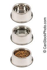 Set of three pet's dog bowls isolated