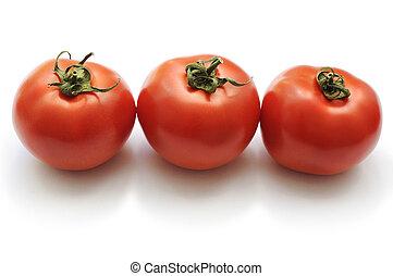 Set of three ripe tomatoes