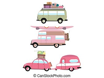 Set of three simplified campers