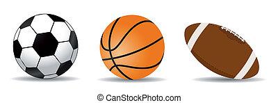 set of three sports balls