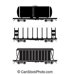 Set of three stylised wagons. The Hopper car, open wagon, tank car. Vector illustration