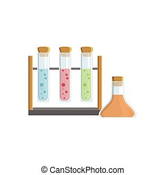 Set Of Three Test Tubes For Chemical Experiments