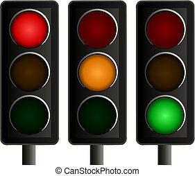 Vector illustration of a set of three traffic lights, one showing a red signal, one an amber signal and one a green signal.