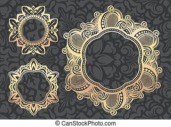 Set of three unusual vintage lace gold round frame on a stylish black and grey floral pattern. Vector illustration.
