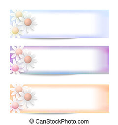 set of three vector abstract banner and flowers