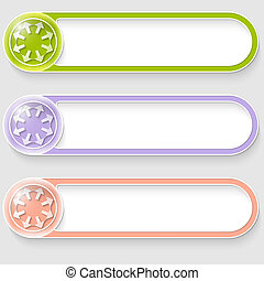 set of three vector abstract colored buttons with arrows